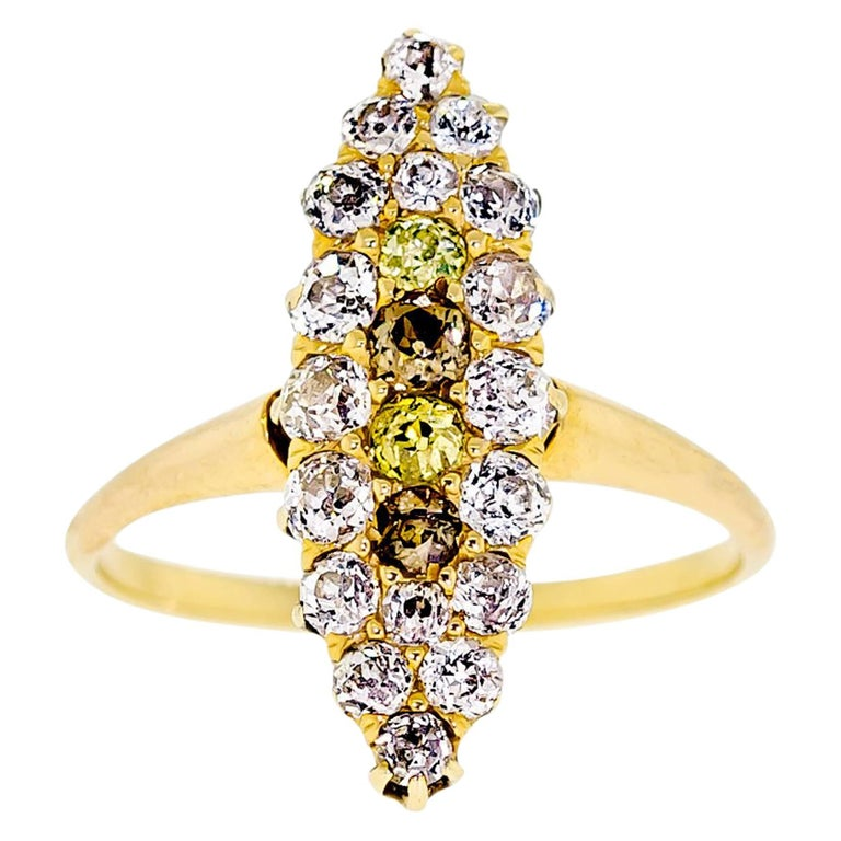 Sweet Antique Turn of the Century Diamond And Yellow Gold Ring For Sale