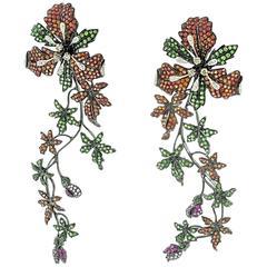 10.22 Carat Sapphire Tsavorite Garnet Diamond Gold Earrings