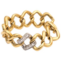 1980s Two-Tone Chain Link Ring with Diamonds