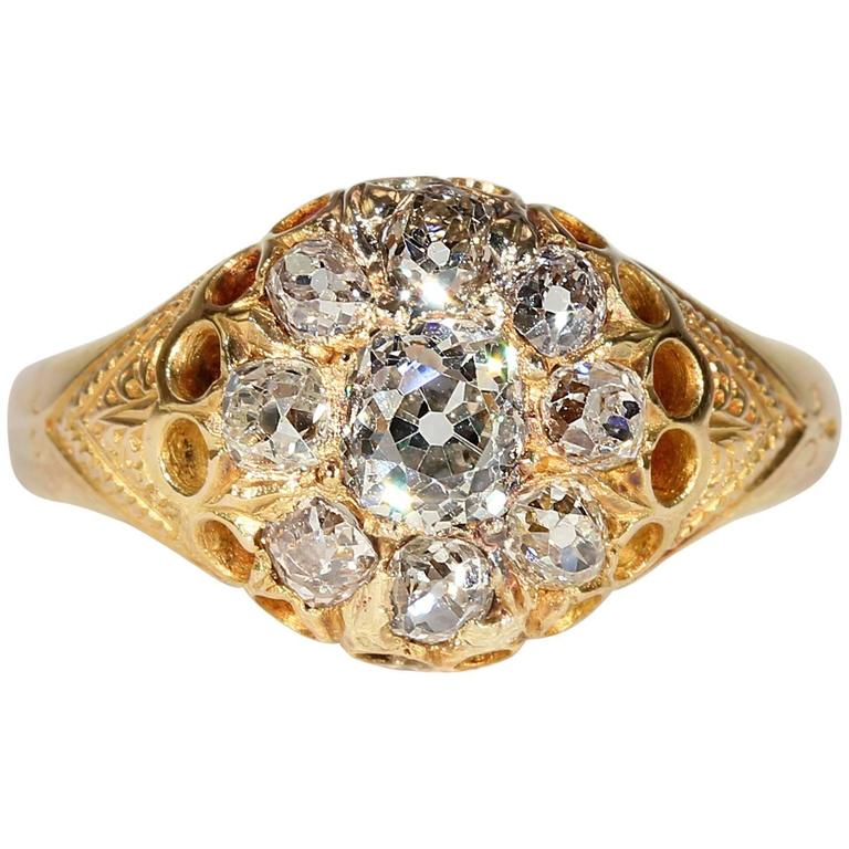 Victorian Diamond Cluster Engagement Ring