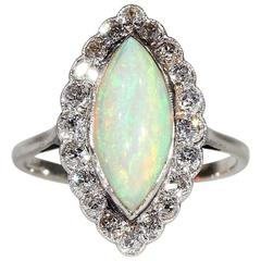 Edwardian Opal Diamond Marquise Cluster Ring Platinum