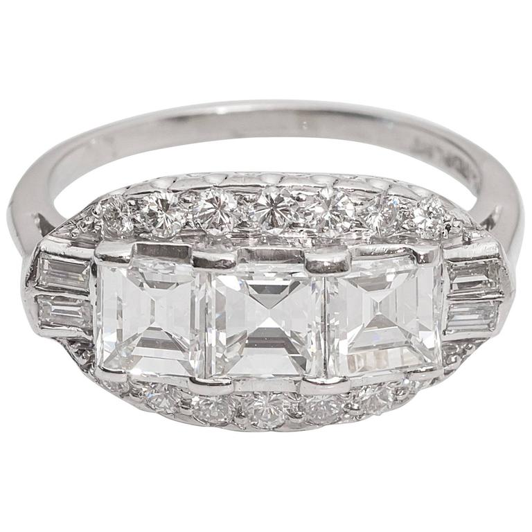 1920s Art Deco 3.0 Carat Diamond Platinum Engagement Ring