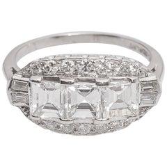 1920s Art Deco 3.0 Carat Diamond Platinum Engagement Ring