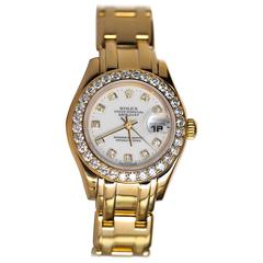 Rolex Ladies Yellow Gold Masterpiece Diamond Bezel and Dial Wristwatch