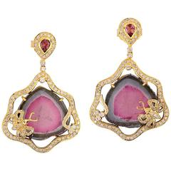 Pretty Watermelon Tourmaline and Diamond Earring