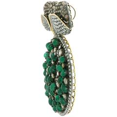 Emerald and Diamond Brooch come Pendant