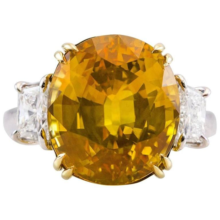 GIA Certified 12.28 Carat Yellow Sapphire Diamond Ring