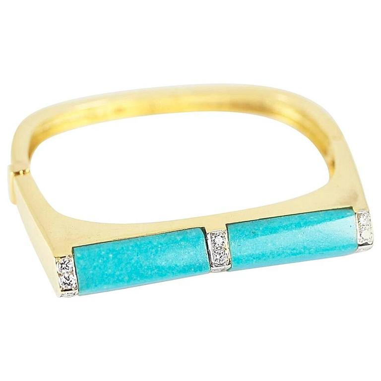Turquoise and Diamond 18 Karat Gold Cuff