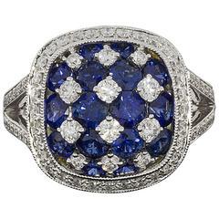 Sapphire Diamond Cushion Halo Split Shank Cluster Ring