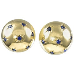 Large Retro Gold and Sapphire Earrings