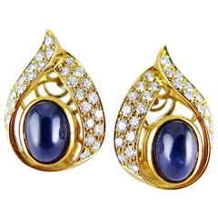 Cartier Cabochon Sapphire Diamond Gold Earrings