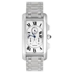 Cartier Tank Americaine Chronograph White Gold Quartz Wristwatch W260334