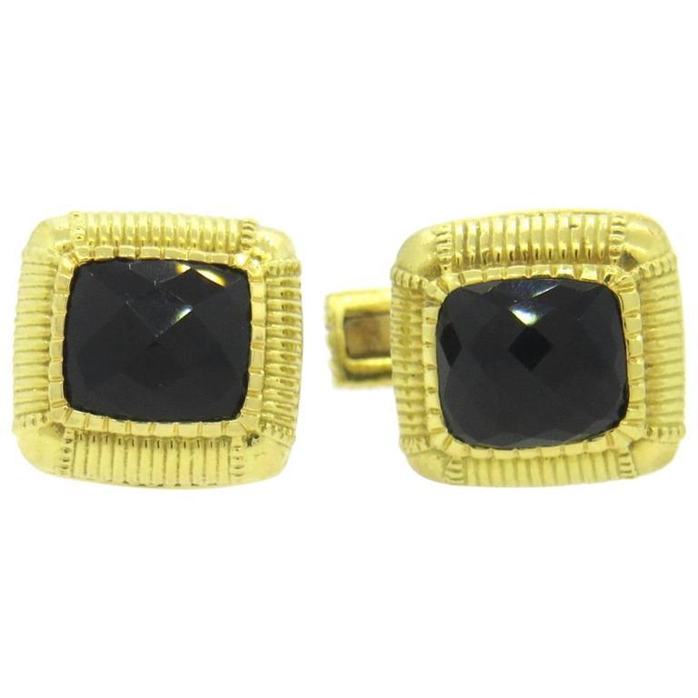 Judith Ripka  Smokey Quartz Gold Cufflinks