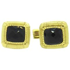 Judith Ripka  Smokey Quartz Gold Cufflinks