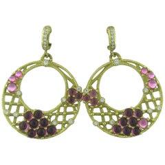 Judith Ripka Diamond Pink Tourmaline Gold Earrings