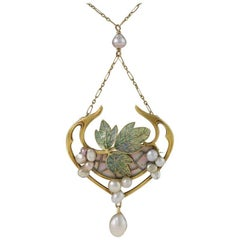 Georges Fouquet French Art Nouveau Opal, Pearl, Gold and Enamel Pendant