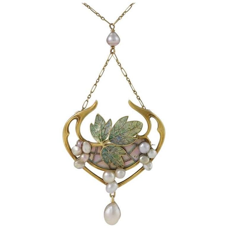 Georges Fouquet French Art Nouveau Opal, Pearl, Gold and Enamel Pendant For Sale