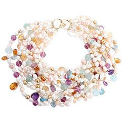 Stunning Freshwater Pearl Gemstone Gold Necklace