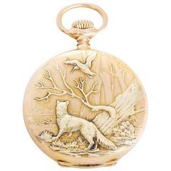 Patek Philippe  Yellow Gold Hunting Case Pocket Watch Wildlife Scene