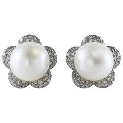 10mm Cultured White Pearl Diamond Gold Flower Earrings
