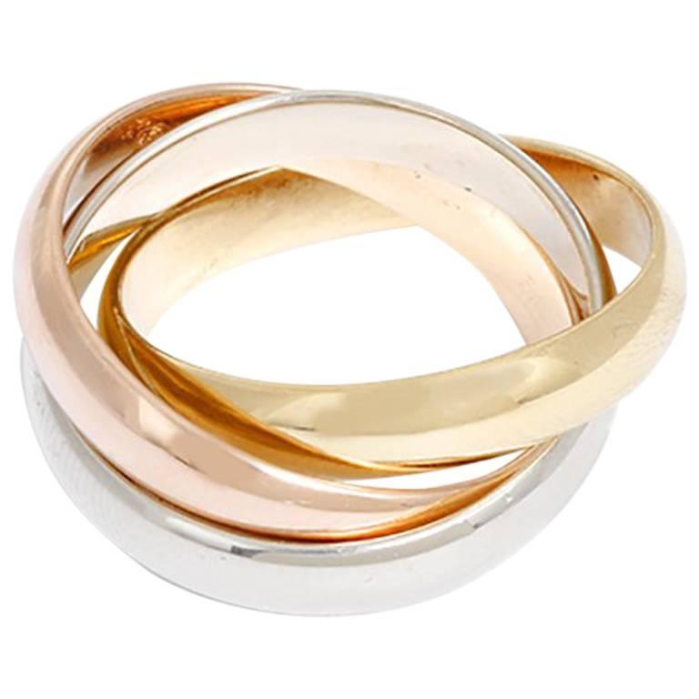 Cartier Trinity  Tri-Color Gold Ring Sz. 54