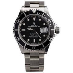 Rolex Stainless Steel Submariner Black Dial Wristwatch Ref #16610