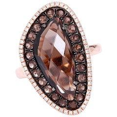 Amazing Smoky Quartz and Diamond Ring