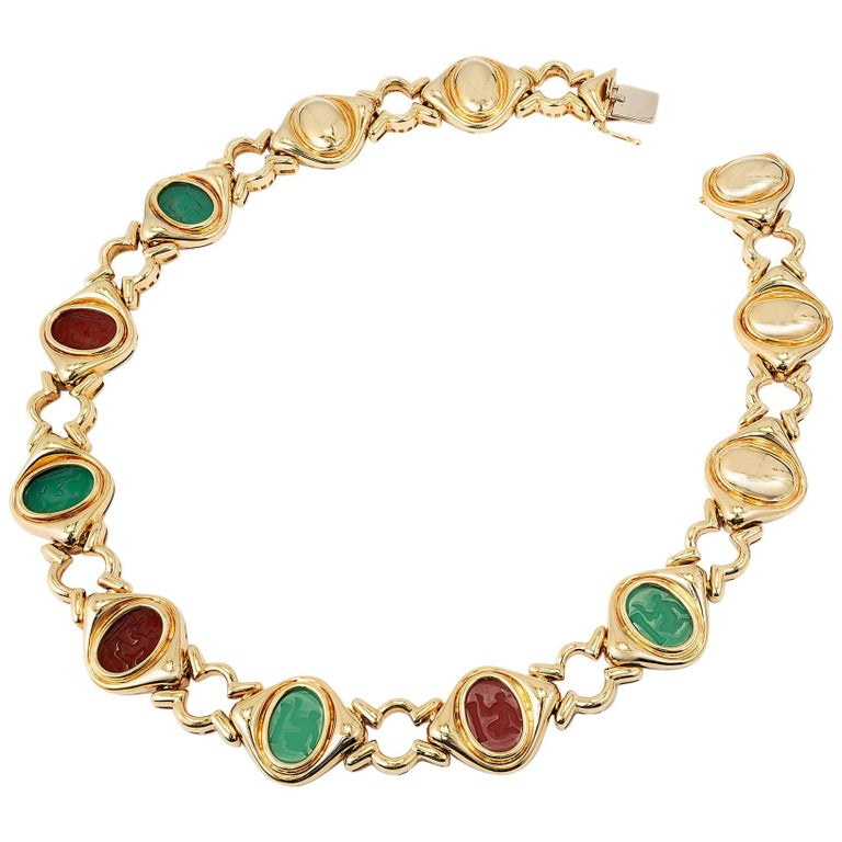 Oval Chrysophase Carnelian Hardstone Yellow Gold Necklace