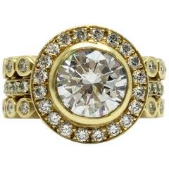 Doris Panos 18 Karat Yellow Gold Semi Mount Diamond Ring