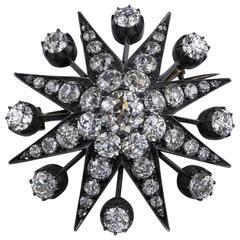 Victorian Old European Diamond Silver Gold Eight Point Star Brooch