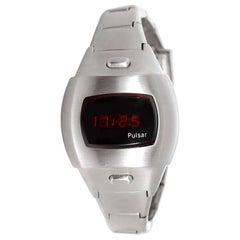 Retro Ladies Collectible Pulsar Digital Steel LED Display Quartz Wristwatch