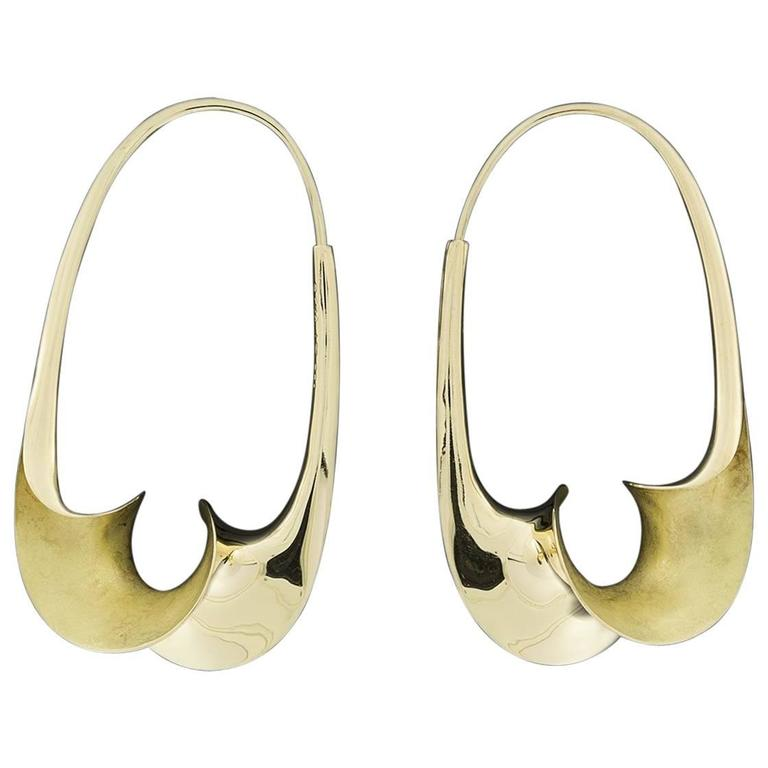 Michael Good Gold Torque Medium Oval Endless Hoop Earrings For