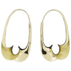 Michael Good  Gold Torque Medium Oval Endless Hoop Earrings