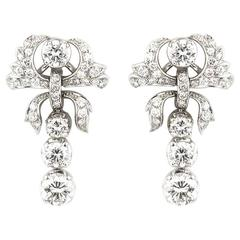1950s Diamond Drop Earrings in Platinum 3.60 Carat