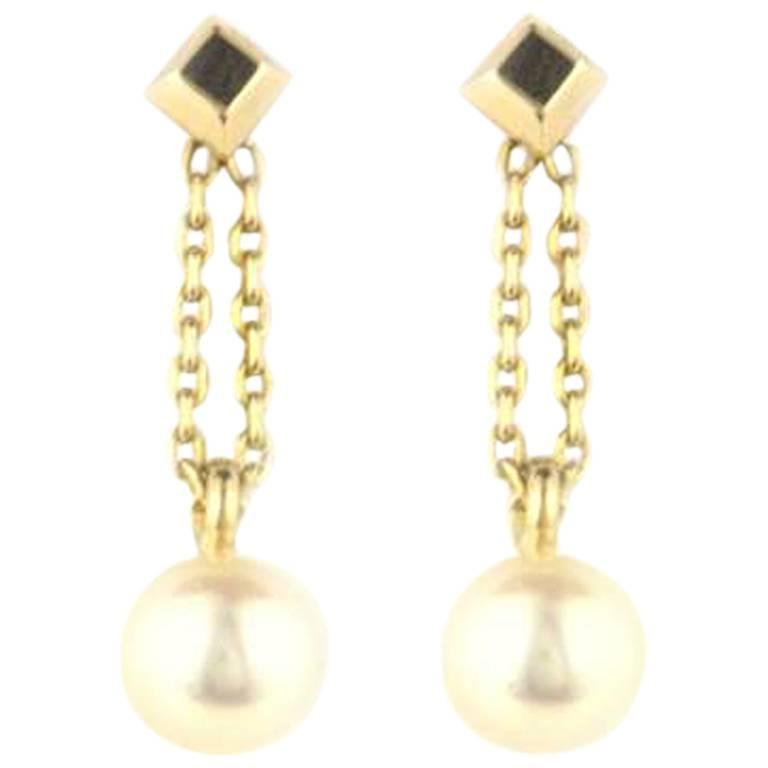 Cartier Gold Pearl Drop Earrings
