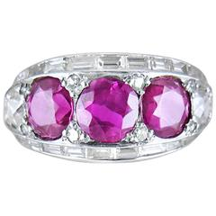 Art Deco Ruby Diamond and Platinum Cocktail Ring