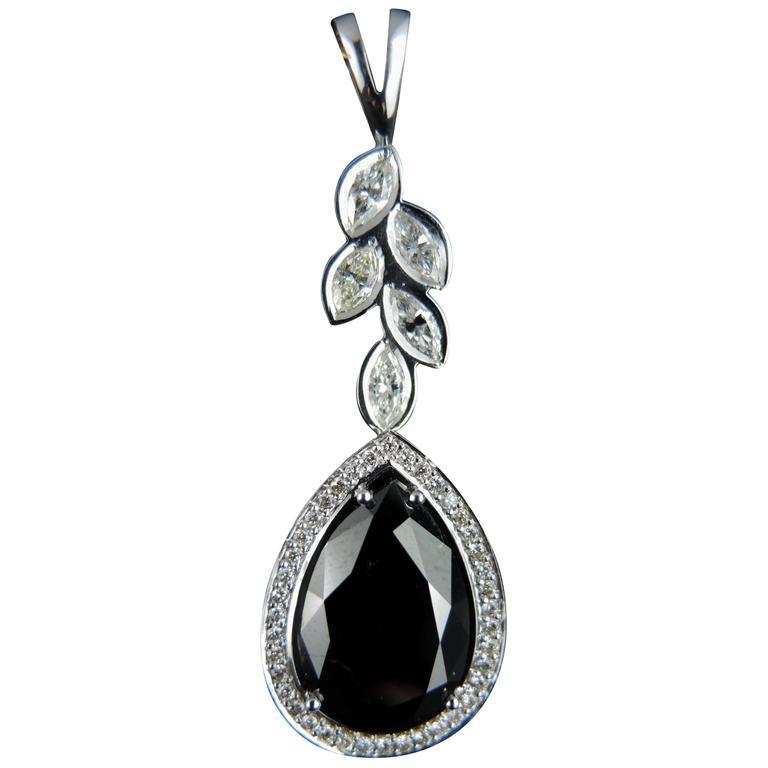 Black Diamond White Gold Pendant