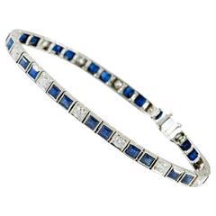 Art Deco Platinum Diamond and Sapphire Line Bracelet