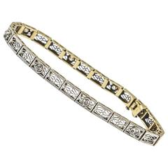 Art Deco Gold Diamond Filigree Bracelet