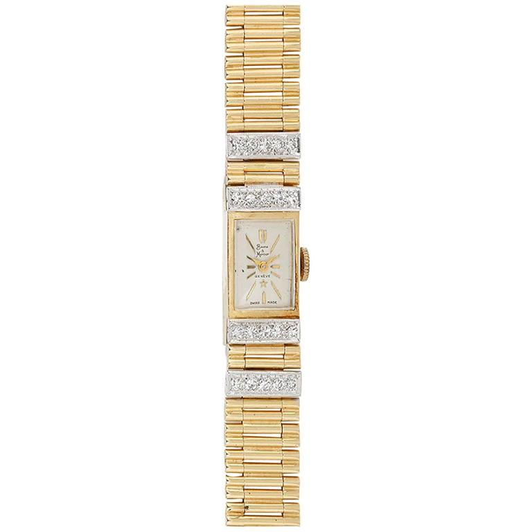 Baume & Mercier Ladies Yellow Gold Diamond Manual Winding Wristwatch For Sale