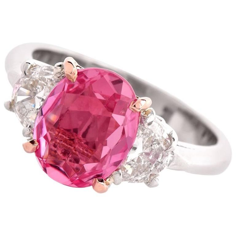 three pink sapphire platinum ring for sale