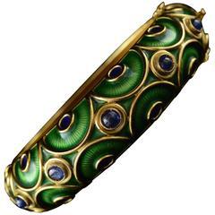 Green Enamel & Sapphire Gold Bangle Bracelet