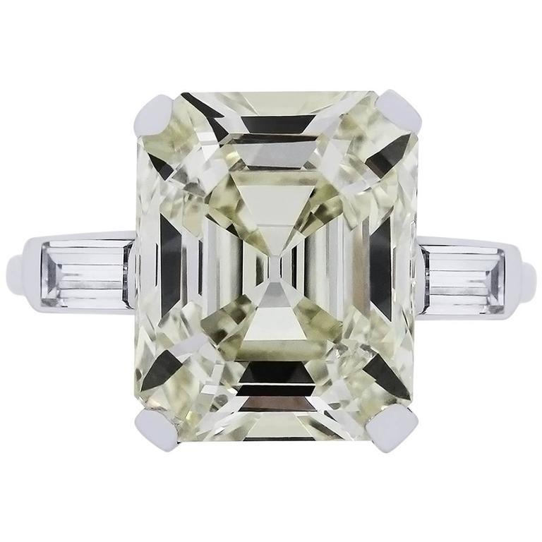7.59 Carat GIA Certified Emerald Cut Diamond Platinum Ring