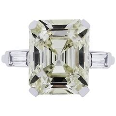 7.59 Carat GIA Certified Emerald Cut Diamond Platinum Ring