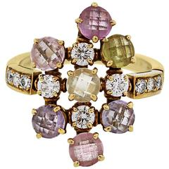 Bulgari Sapphire and Diamond Cluster Ring