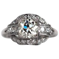 1920s Art Deco Platinum GIA Certified 1.04 Carat Diamond Engagement Ring