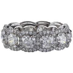Cushion Diamond Eternity Platinum Wedding Band