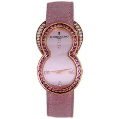 de Grisogono Ladies Be Rose Gold Pink Sapphire Diamond Quartz Wristwatch
