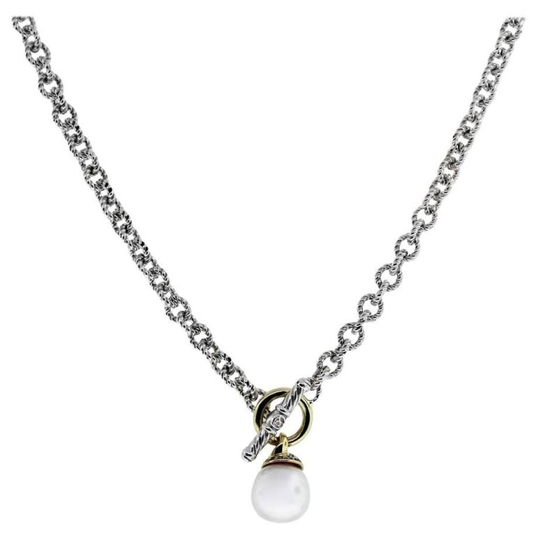 David Yurman Sterling silver  Yellow Gold Pearl Drop Necklace