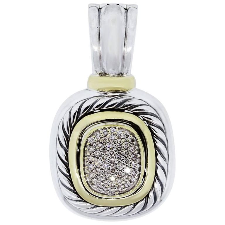 David Yurman Albion Diamond Yellow Gold Large Pendant 1